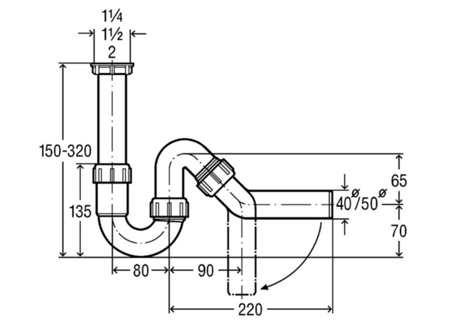 viega geruchsverschluss 1 1/2 x 40/50mm geräteanschluss siphon