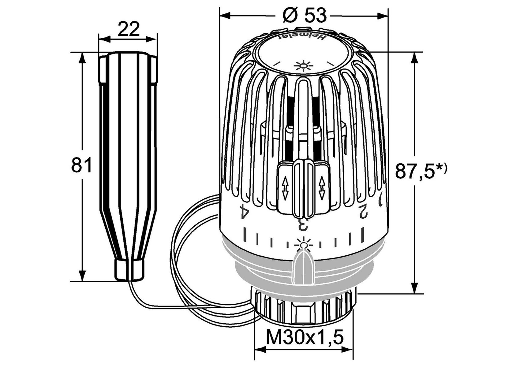 heimeier thermostatkopf k6001 fernf hler 1 25 m thermostatf hler 6001 ebay. Black Bedroom Furniture Sets. Home Design Ideas