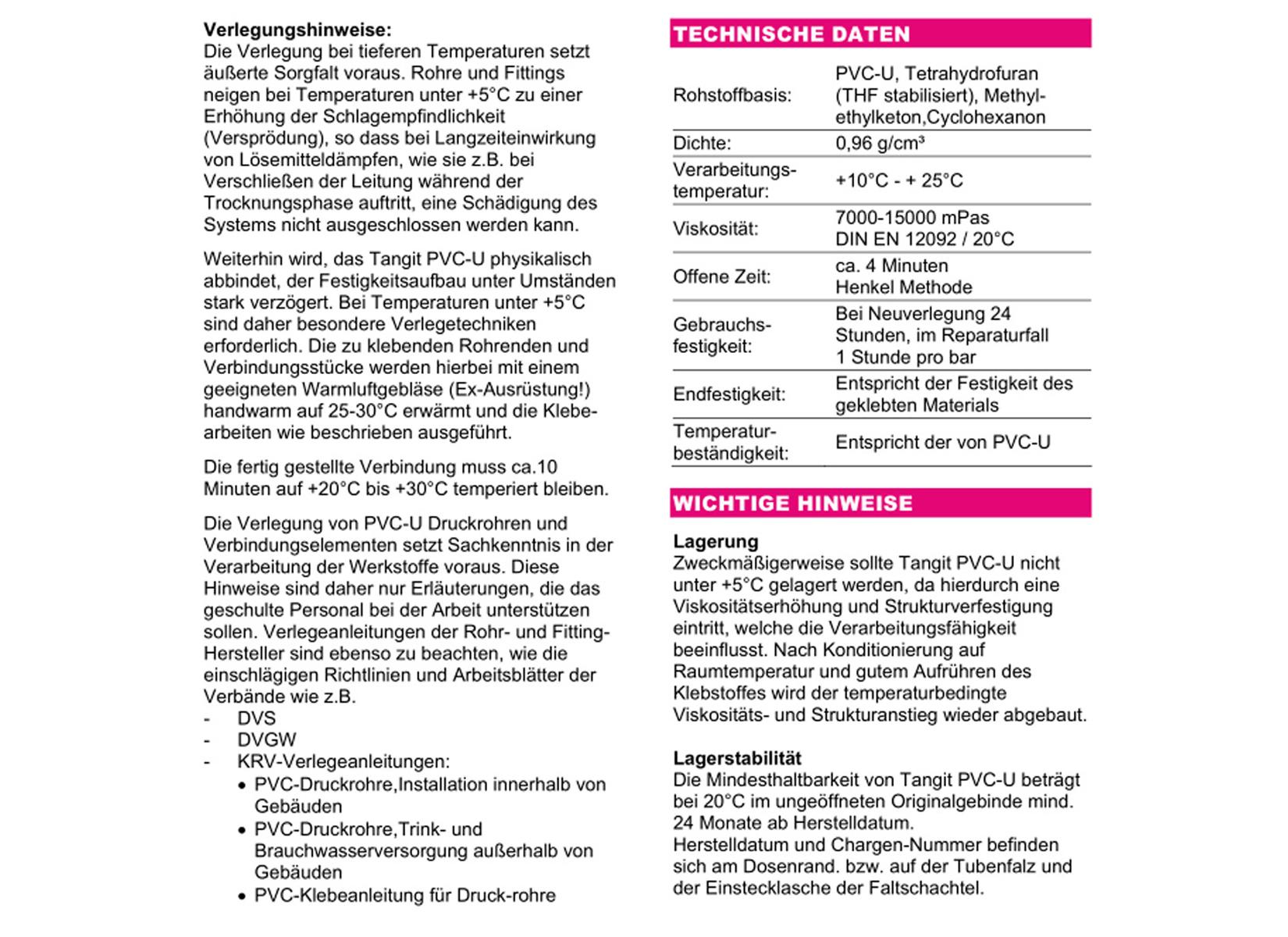 Tangit Set PVC-U Kleber Dose 1 kg Reiniger 1 L Kunststoffrohr ...