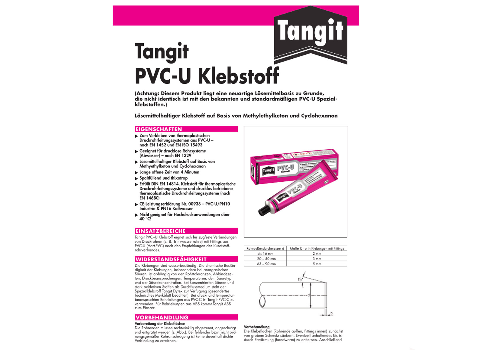 tangit pvc u kleber tube 125 g kunststoffrohr. Black Bedroom Furniture Sets. Home Design Ideas