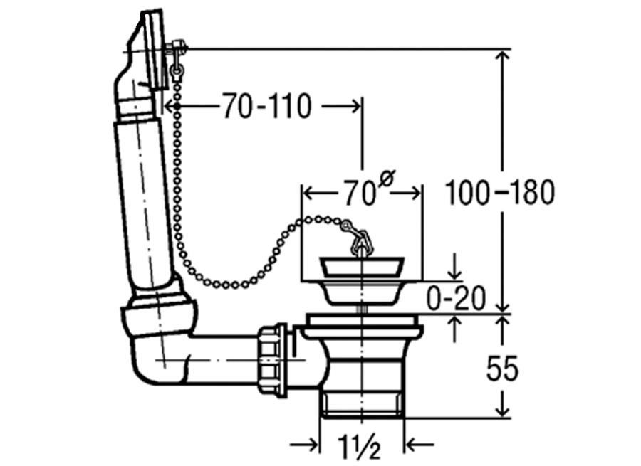 """Viega Ablauf und Überlaufgarnitur 1 1//2/"""" x 70 mm Siphon Sifon Spüle Küche 100834"""