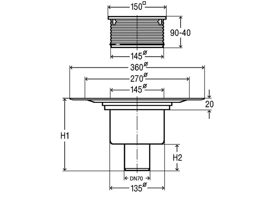 viega advantix bodenablauf senkrecht dn 70 balkonablauf. Black Bedroom Furniture Sets. Home Design Ideas